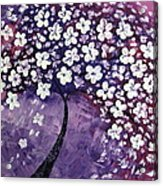 Tree In Purple Acrylic Print by Mariana Stauffer