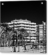Tree Lined Seafront Promenade And Beach Salou Catalonia Spain Acrylic Print