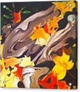 Tree Roots and Autumn Leaves Acrylic Print