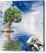 Tree Seagull And Sea Acrylic Print