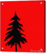 Tree Silhouette On A Red Background 2 Acrylic Print