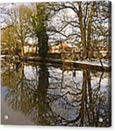 Trees Beside The Wintry Rolleston Pond Acrylic Print