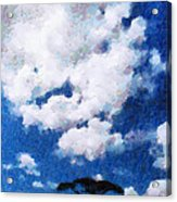 Trees Under Blue Cloudy Sky Painting Acrylic Print