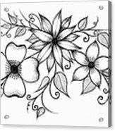 Tri-floral Sketch Acrylic Print