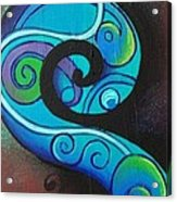 Tribal Koru Blue Acrylic Print