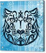 Tribal Tattoo Design Illustration Poster Of Snow Leopard Acrylic Print by Sassan Filsoof