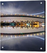 Triboro Bridge Panorama At Night Acrylic Print