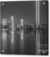 Tribute In Light Reflections Bw Acrylic Print
