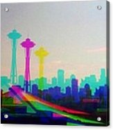 Tricolor Seattle Space Needle Acrylic Print