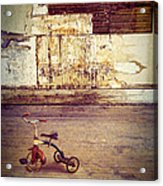 Tricycle In Abandoned Room Acrylic Print
