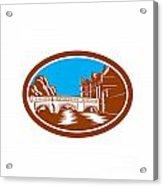 Trinity College Bridge Cambridge Woodcut Acrylic Print