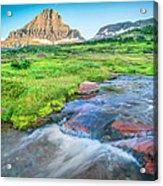 Triple Falls Stream Glacier National Park Acrylic Print