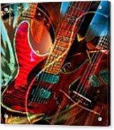 Triple Header Digital Banjo And Guitar Art By Steven Langston Acrylic Print