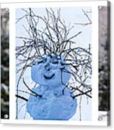 Triptych - Christmas Trees And Snowman - Featured 3 Acrylic Print