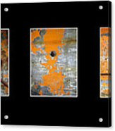 Triptych Old Metal Series Acrylic Print by Ann Powell