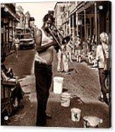 Trombone Man On Royal St. New Orleans Acrylic Print