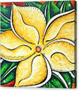 Tropical Abstract Pop Art Original Plumeria Flower Painting Pop Art Tropical Passion By Madart Acrylic Print