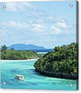 Tropical Blue Lagoon And Lush Rock Acrylic Print
