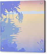 abstract tropical boat Dock Sunset large pop art nouveau retro 1980s florida landscape seascape Acrylic Print
