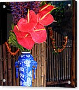 Tropical Flowers In A Porcelain Vase Acrylic Print