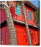 Tropical Orange House Palm Trees - Whoa Now Acrylic Print