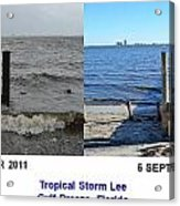 Tropical Storm Lee Difference A Day Makes Acrylic Print by Jeff at JSJ Photography