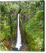 Tropical Waterfall In Volcanic Crater Acrylic Print