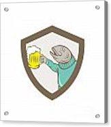 Trout Fish Holding Beer Mug Shield Cartoon Acrylic Print