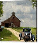 Trucks And Barn Acrylic Print by Jack Zulli