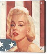 True Blue Marilyn In Flag Acrylic Print