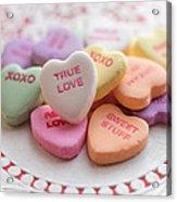 True Love Valentine Candy Hearts Acrylic Print