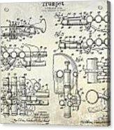 Trumpet Patent Drawing Acrylic Print
