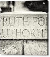 Truth For Authority Lucretia Mott  Acrylic Print