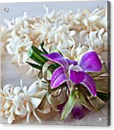 Tuberose Lei With Purple Orchid And Ribbon Acrylic Print
