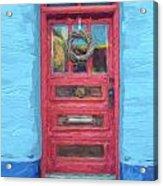 Tucson Barrio Red Door Painterly Effect Acrylic Print