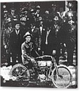 Tucson Police Department  On Steps Of City Hall With 1st Police Motorcycle C. 1917 Tucson Arizona Acrylic Print