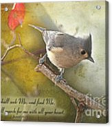 Tuffted Titmouse With Verse Acrylic Print