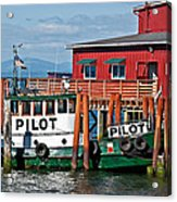 Tug Boat Pilot Docked On Waterfront Art Prints Acrylic Print