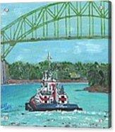 Tug Sabine Under Bourne Bridge Acrylic Print
