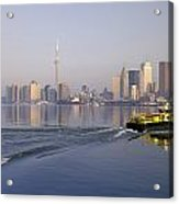 Tugboat And City Skyline, Toronto Acrylic Print