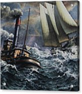 Tugboat And Lumber Schooner In Storm Acrylic Print