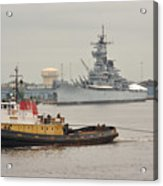 Tugboat Towing Past The Uss New Jersey Acrylic Print