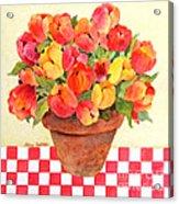 Tulips And Checks Acrylic Print