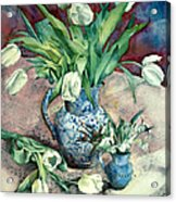 Tulips And Snowdrops Acrylic Print by Julia Rowntree