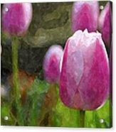 Tulips In Digital Watercolor Acrylic Print