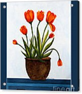 Tulips On A Blue Buffet With Borders Acrylic Print by Barbara Griffin