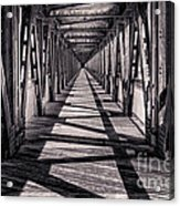Tulsa Pedestrian Bridge In Black And White Acrylic Print by Tamyra Ayles