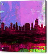 Tulsa Watercolor Skyline 2 Acrylic Print