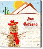 Arizona Tumbleweed Snowman Acrylic Print