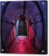 Tunnel And Stairs Bathed In Blue And Red Light Acrylic Print